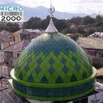 Kubah Masjid Al Bayan - PALU-SULAWESI TENGAH,yang mempunyai dua motif yaitu hijau muda dan hijau tua