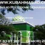 kubah Masjid Poltekes Semarang nampak dari jauh. kubah yang mempunyai dua motif ini yaitu hijau tua dan hijau muda terlihat serasi dengan warna dinding masjid.