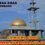 kubah emas Masjid Irhamna Kamilah Perum Taman Gandaria Permai, JL. Panca Usaha, Jakabaring Palembang