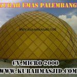 kubah emas Masjid Irhamna Kamilah dari samping Perum Taman Gandaria Permai, JL. Panca Usaha, Jakabaring Palembang