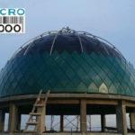 pemasangan panel pada kubah Masjid Muhammad, Jl. Imam Bonjol, N0. 335, Denpasar, Bali